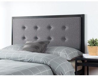 Zinus Barbara Button Tufted Grey Upholstered Metal Headboard, Multiple Sizes