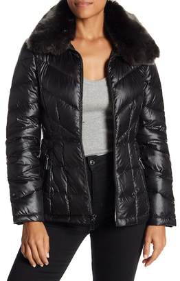 Kenneth Cole New York Faux Fur Collar Down Jacket