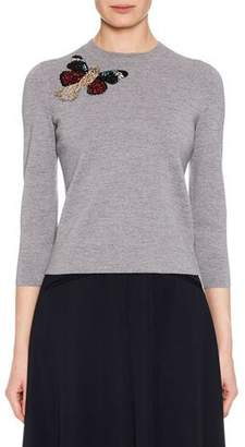 Alexander McQueen Crewneck 3/4-Sleeve Milano Wool Knit Sweater w/ Moth Embellishment