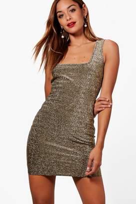 boohoo Metallic Square Neck Bodycon Dress