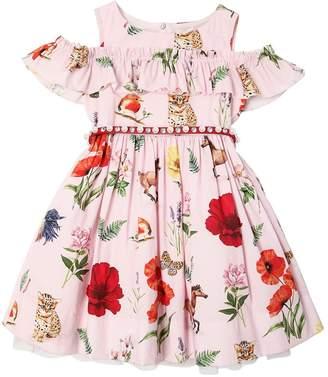 MonnaLisa Floral Print Cotton Poplin Party Dress