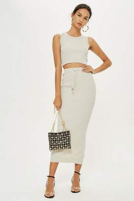 Topshop Petite Ribbed Tube Skirt