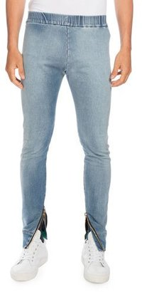 Balmain Denim Moto Jogger Pants, Light Blue $1,040 thestylecure.com