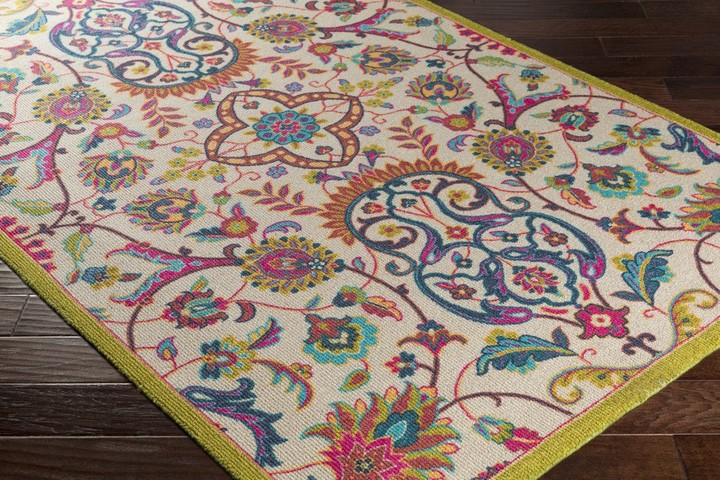 Bukhara Colorful Nylon Area Rug with Flowers - LOW STOCK, ORDER NOW!