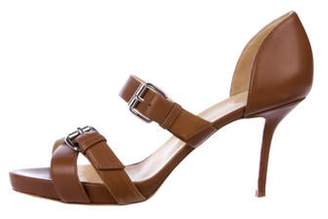 Christian Louboutin Leather Buckle Sandals Gold Leather Buckle Sandals