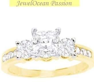 JeenJewels 1.00 Carat Cheap Engagement Ring with Princess cut Diamond on 14K Yellow gold