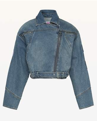 Juicy Couture JXJC Patches Denim Moto Jacket