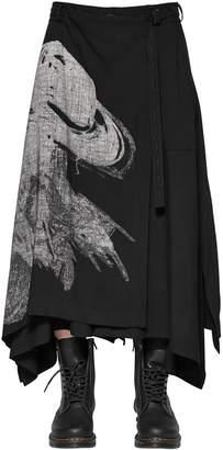 Yohji Yamamoto Printed Layered Wool Blend Skirt