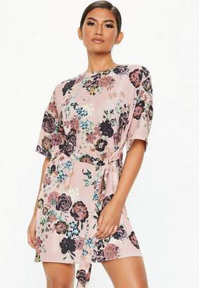 Missguided Pink Tie Waist Floral T-Shirt Dress