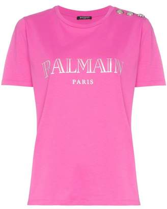Balmain paris logo cotton t-shirt