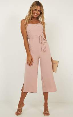 Showpo Ride Into The Sunset Jumpsuit in blush - 14 (XL) Playsuits &