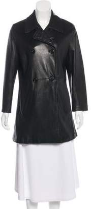 Barneys New York Barney's New York Leather Double-Breasted Coat