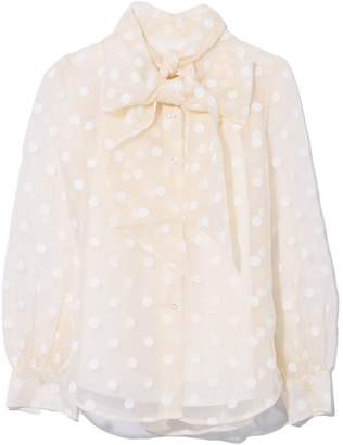 Marc Jacobs Button Blouse with Long Bow Tie in Ivory