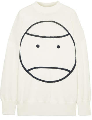 Tory Sport Performance Intarsia Merino Wool And Coolmax-blend Sweater - Off-white