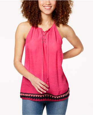 BCX Juniors' Crochet-Hem Lace-Up Top