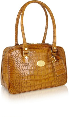 L.a.p.a. Camel Croco Stamped Italian Leather Shoulder Bag