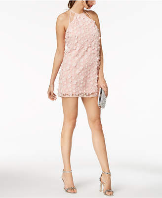 BCBGeneration Flower-Applique Halter Shift Dress