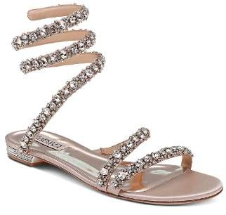 Badgley Mischka Women's Paz Embellished Satin Ankle Wrap Flat Sandals