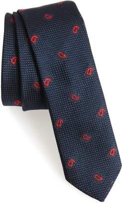 Eleventy Paisley Silk Skinny Tie