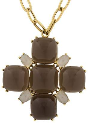 N. Goshwara 18K Smoky & Moon Quartz Rock Roll Pendant Necklace