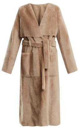 Yves Salomon V-neck tie-waist shearling trench coat