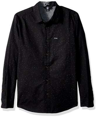 Volcom Men's Smashed Star Long Sleeve Button up Shirt
