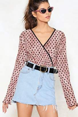 Nasty Gal Do What You Plisse Polka Dot Bodysuit