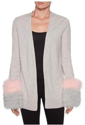 Magaschoni Long Sleeve Fur Cuff Cardigan
