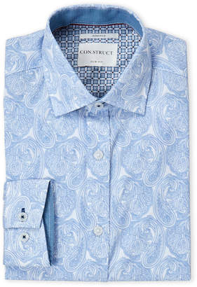English Laundry Con.Struct Blue Large Paisley Slim Fit Dress Shirt