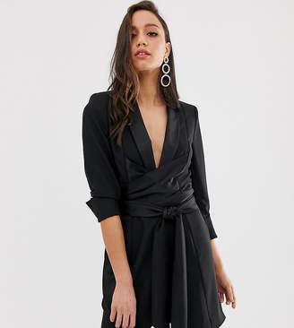 Asos Tall DESIGN Tall mini tux dress with self tie belt