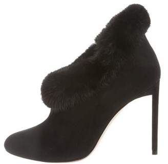 Christian Dior Mink-Trimmed Pointed-Toe Booties w/ Tags