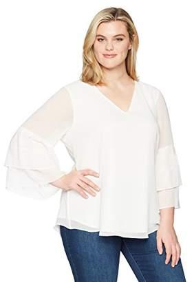 Calvin Klein Women's Plus Size V NCK W/2 Tier SLV