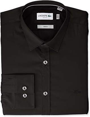 Lacoste Men's Long Sleeve Solid Stretch Poplin Slim Woven Shirt