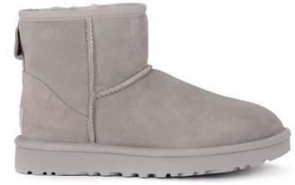 UGG Classic Ii Mini Light Grey Suede Sheepskin Ankle Boots.