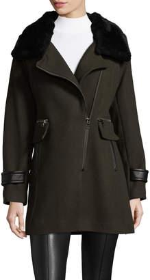 Trina Turk Women's Aubree Wool Blend and Shearling Coat