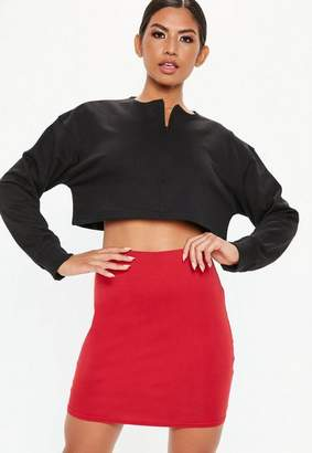 Missguided Red Basic Jersey Mini Skirt