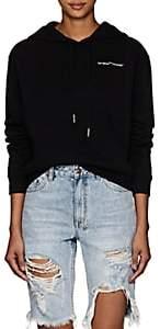 Off-White Women's Logo-Embroidered Cotton Crop Hoodie - Black