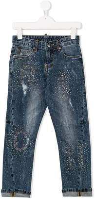 John Richmond Kids logo studded jeans