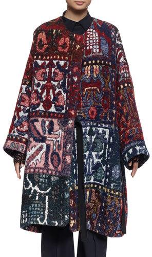 Chloé Chloe Long-Sleeve Blanket Coat, Multi Colors