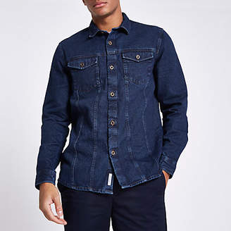 River Island Mens Blue button through denim shirt