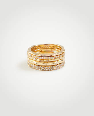 Ann Taylor Crystal Stacked Ring Set