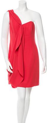 Shoshanna One-Shoulder Draped-Accented Dress $100 thestylecure.com
