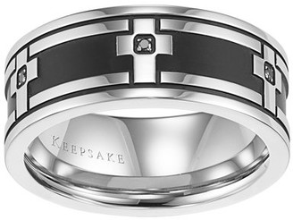 Keepsake Carlos Black Diamond Accent Stainless Steel Cross Band, 9mm