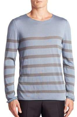 Giorgio Armani Striped Cotton, Silk& Cashmere Sweater