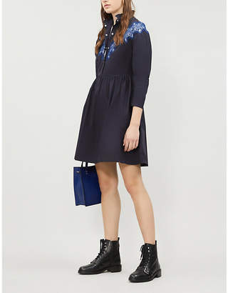 Sandro Embroidered-lace panel flared cotton-crepe dress