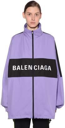 Balenciaga FRONT LOGO PRINT TECH POPLIN JACKET