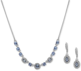 """Givenchy Crystal & Stone Collar Necklace & Oval Drop Earrings Box Set, 16"""" + 3"""" extender"""