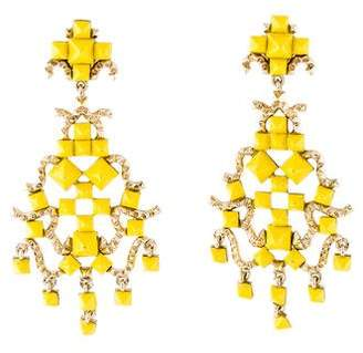 Chandelier clip on earrings shopstyle pre owned at therealreal valentino enamel studded clip on chandelier earrings aloadofball Choice Image