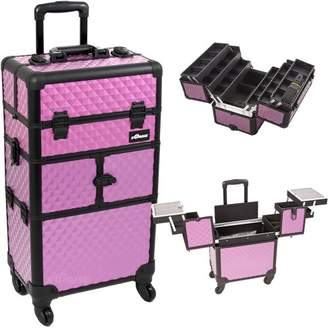 30.5 inch 360 Degree Rotating Wheels Rolling 2 in 1 Textured Travel Professional Makeup Trolley w/Extendable Trays