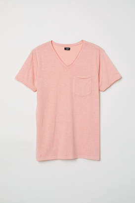 H&M T-shirt with Raw Edges - Orange